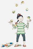 Illustration of girl juggling balls