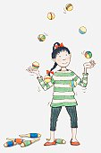 Illustration of girl juggling balls