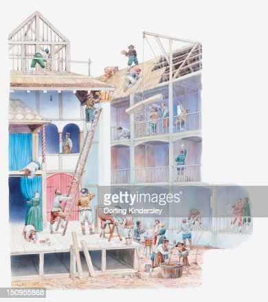Illustration of Globe Theatre being built in Elizabethan times : Stock Illustration