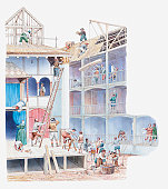 Illustration of Globe Theatre being built in Elizabethan times
