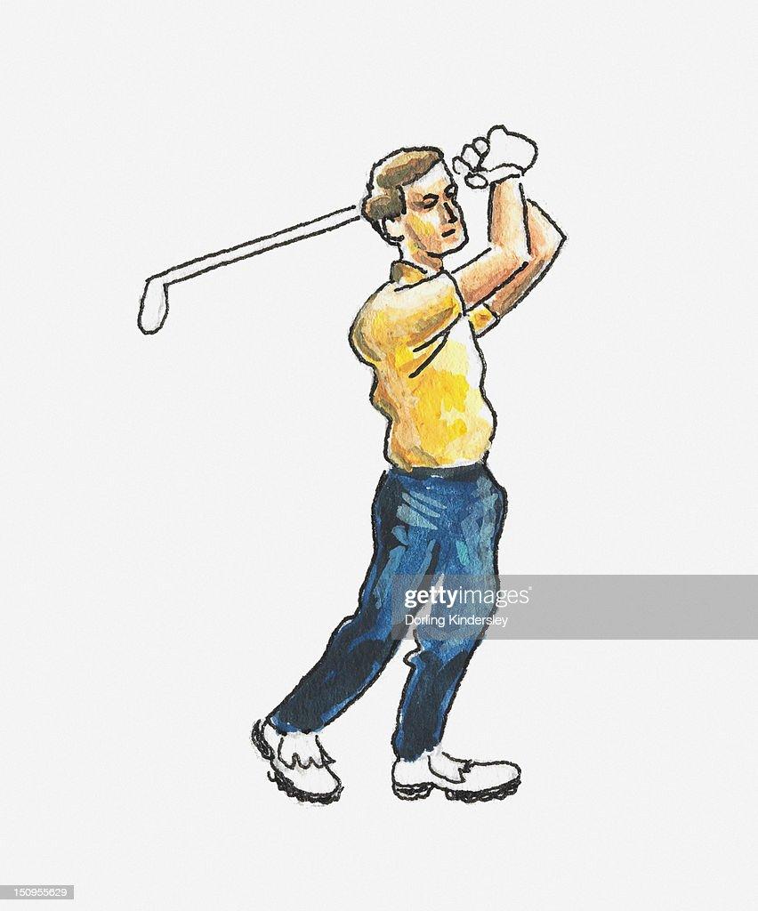 Illustration of golfer in backswing position : Stock Illustration