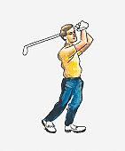 Illustration of golfer in backswing position