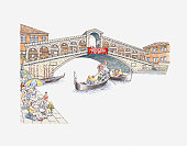 Illustration of gondolas on Venice's Grand Canal passing under Rialto Bridge (Ponte di Rialto)