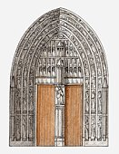 Illustration of Gothic portal, Cologne Cathedral, Germany