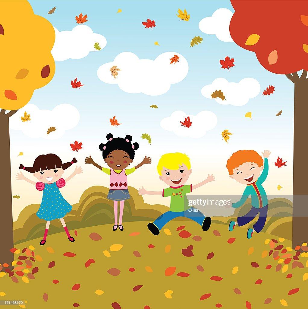 Illustration of group of happy children : Stock Illustration