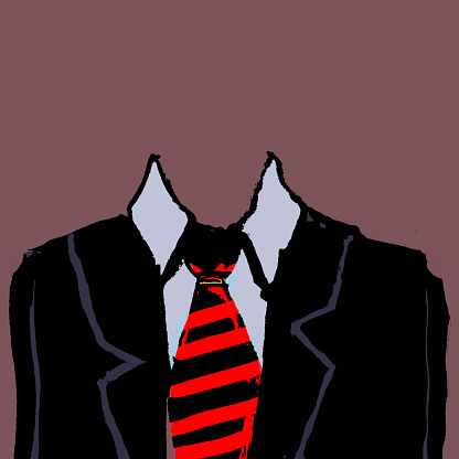 Illustration of headless businessman against brown background