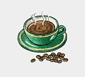 Illustration of hot cup of coffee and coffee beans