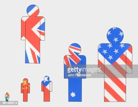 Illustration Of Human Figure Symbols With National Flags Of United