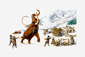 Illustration of Ice Age hunters trying to capture a Mammoth, also showing the use of mammoth skin for shelter, and roasting of mammoth meat