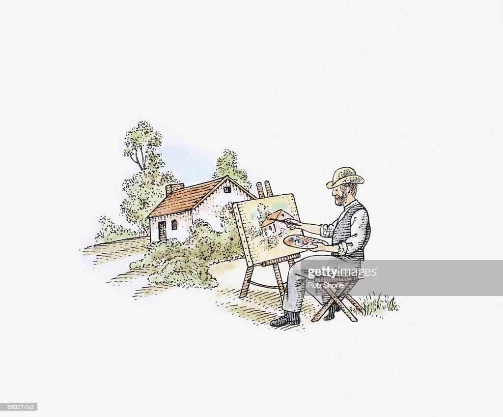 Illustration of Impressionist artist painting country cottage on canvas : Stock Illustration
