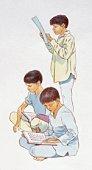 Illustration of Indian boys reading books