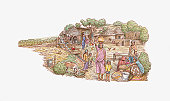 Illustration of Indian village surrounded by farmland