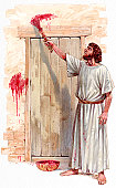 Illustration of Israelite man painting blood of passover lamb on wooden door post