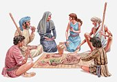 Illustration of Israelites sitting down for their last meal in Egypt, Passover, Book of Exodus
