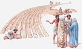Illustration of Israelites working as slaves for Pharaoh, Israelite foremen talking to Aaron and Moses, Book of Exodus