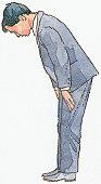 Illustration of Japanese man bowing
