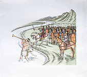 Illustration of Julius Caesar leading Roman army legion across Rubicon river