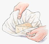 Illustration of keeping hard cheese moist by wrapping in muslin