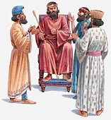 Illustration of King Darius being tricked into sentencing Daniel to death by his officials, Book of Daniel