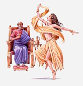 Illustration of King Herod on throne watching Salome dance, Gospel of Matthew