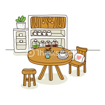 Illustration Of Kitchen With Table And Chair 스톡 일러스트  Thinkstock