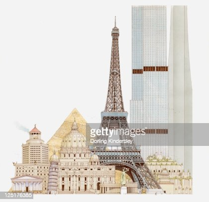 Illustration of landmark buildings, Eiffel Tower, Leaning Tower, St Peter's Basilica, Pyramids, Temple of Artemis, Pharos of Alexandria, Mausoleum of Halicarnassus, Hanging Gardens of Babylon, Sears Tower, CN Tower : Stock-Illustration