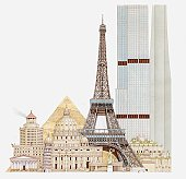 Illustration of landmark buildings, Eiffel Tower, Leaning Tower, St Peter's Basilica, Pyramids, Temple of Artemis, Pharos of Alexandria, Mausoleum of Halicarnassus, Hanging Gardens of Babylon, Sears Tower, CN Tower