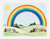 Illustration of landscape with rainbow