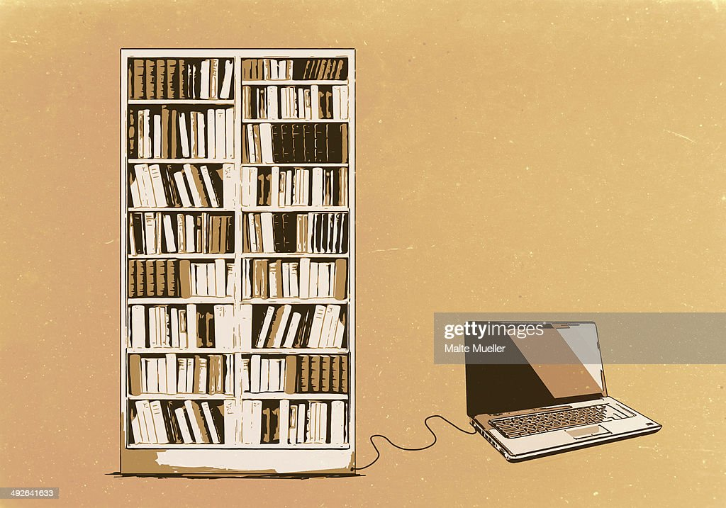 Illustration of laptop connected to bookshelf : Stock Illustration