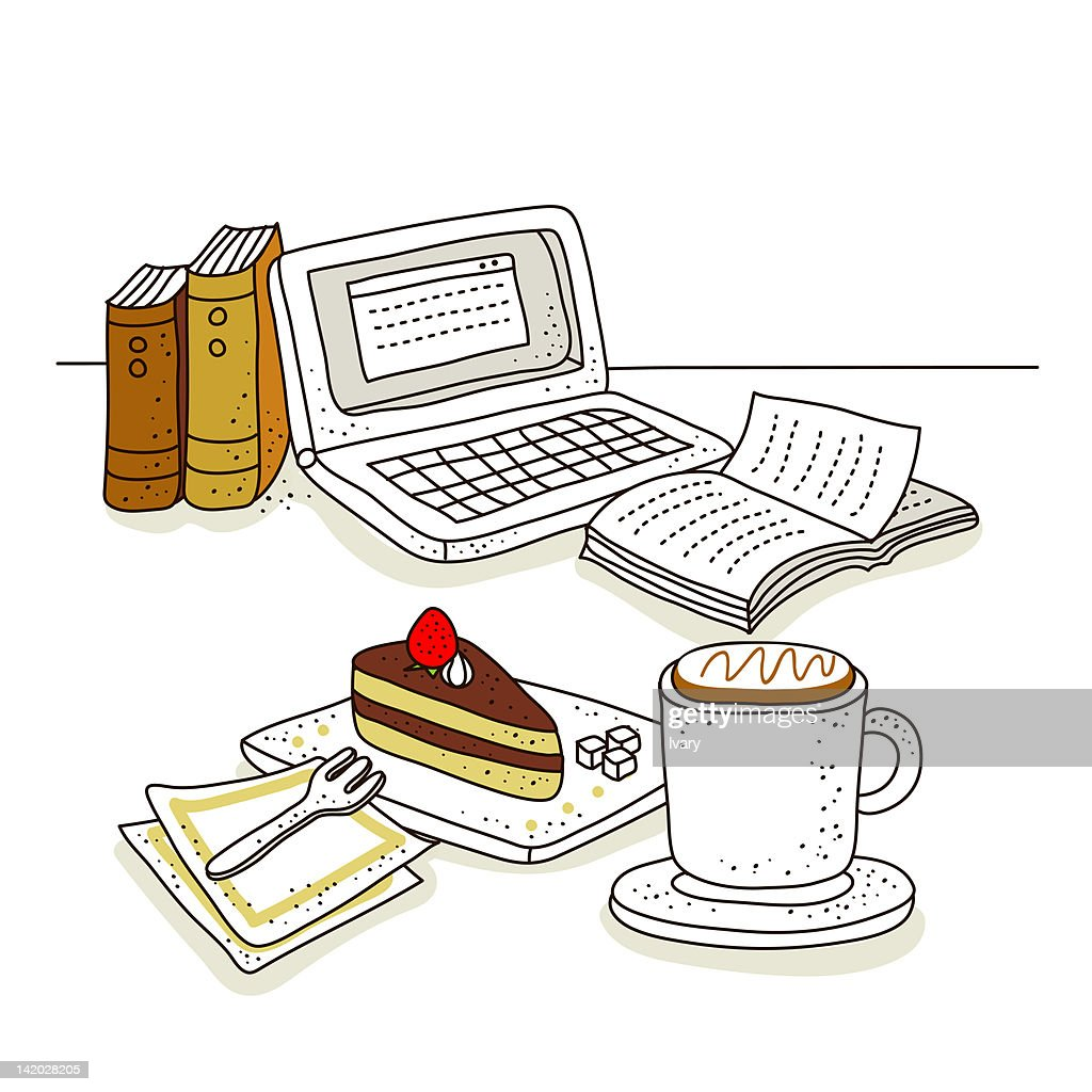 Illustration of laptop with piece of pastry and coffee : Stock Illustration