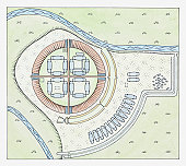 Illustration of layout of the Trelleborg fortress, Sjaelland, Denmark