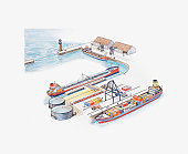 Illustration of lighthouse at entrance to harbour and cargo ships and oil tanker in dock