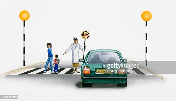 Illustration of lollipop person guiding mother and child walking on zebra crossing in front of stationary car