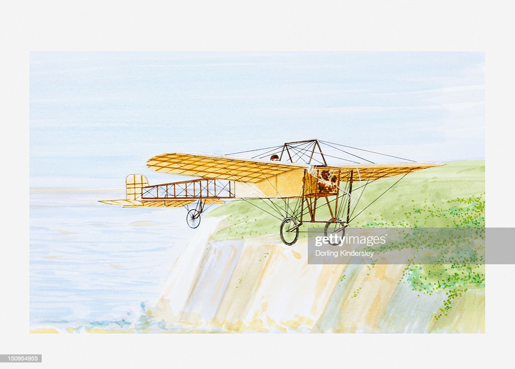 Illustration of Louis Bleriot in his aircraft Bleriot XI, crossing the English Channel, 1909 : Stock Illustration