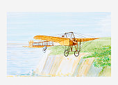 Illustration of Louis Bleriot in his aircraft Bleriot XI, crossing the English Channel, 1909