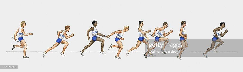 Illustration of male athletes competing in relay race : Stock Illustration