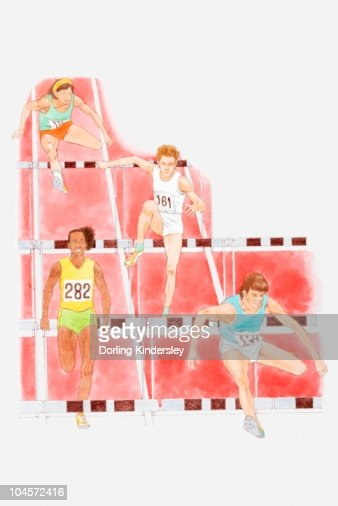 Illustration of male athletes hurdling in race : Stock Illustration