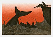 Illustration of man aiming harpoon at whale in sea next to people in small boat set against a blood red sky