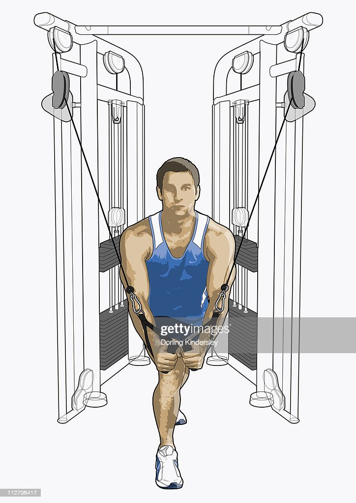 Illustration of man exercising on cable cross-over equipment : Stock Illustration