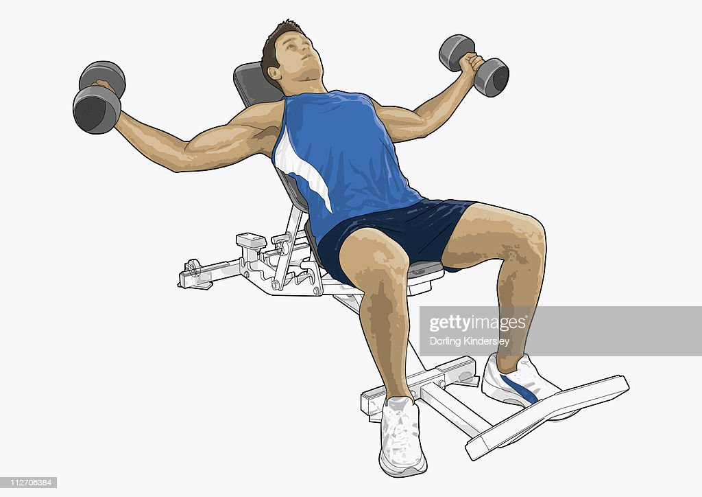 Illustration of man exercising with dumbbells : Stock Illustration
