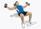 Illustration of man exercising with dumbbells