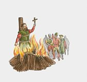 Illustration of man holding cross being burned to death at stake during 16th Century Reformation in Europe