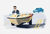 Illustration of man in suit travelling in a car converted from a speedboat