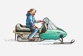 Illustration of man on snowmobile