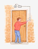 Illustration of man pressing electromagnetic doorbell