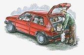 Illustration of man putting groceries in hatchback car