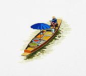 Illustration of man rowing long, narrow boat transporting fresh food on river