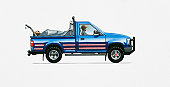 Illustration of man sitting in pick-up truck