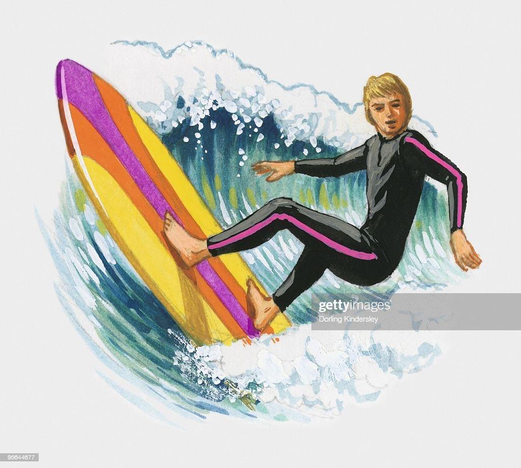 Illustration of man surfing : Stock Illustration