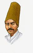 Illustration of man wearing traditional Dervish hat